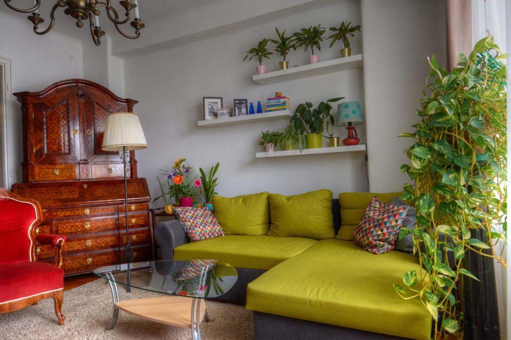 A felújított nappalit látjuk a biedemeier tabernákulum van szemben.gy biedermeier tabernákulum A háttérben növények és virágok.  A szőnyeg tojáshéj színű. Szemben a falon a kanapé fölött három polc van vrágokkal, könyvekkel, dísztárgyakkal. A lakásfelújítás során a régi csillárt megtartottuk.