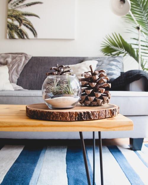 Natúr fa dohányzóasztal világosszürke kanapé előtt.Az asztalon őszi asztaldísz. Fenyőtoboz, gyertyával egy üveggömben. Kék fehér csíkos szőnyeg PADLÓN.